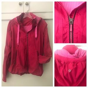 Lululemon Pink Striped Lightweight Jacket